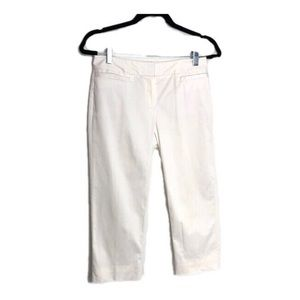 Lafayette 148 White Cropped Trousers 0